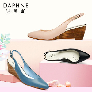 Daphne/达芙妮杜拉拉单鞋女坡跟后空丁字式扣带女单鞋1715102918