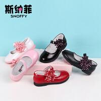 斯纳菲童鞋女童皮鞋儿童鞋真皮 春秋季新款黑色学生韩版公主鞋