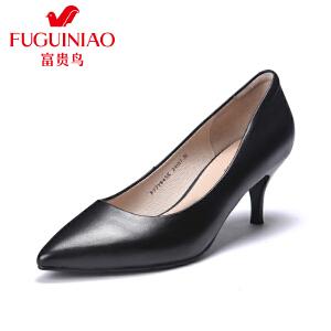 富贵鸟2017春季新款女鞋 单鞋女尖头高跟鞋 细跟性感工作鞋