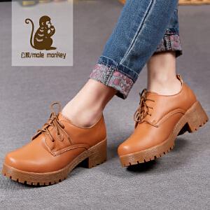 公猴春季新款休闲女鞋粗跟厚底单鞋女英伦中跟休闲鞋松糕女鞋
