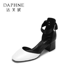 Daphne/达芙妮2017春夏时尚拼色浅口单鞋 优雅丝绸系带粗跟高跟鞋