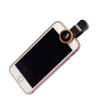美佳朗鱼眼广角微距手机外置摄像头 手机镜头三合一 自拍神器适用于 苹果/三星/小米/ 金色鱼眼广角微距镜头